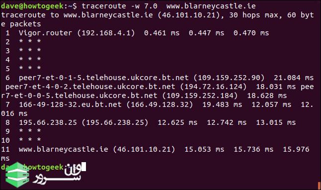 استفاده از Traceroute در لینوکس